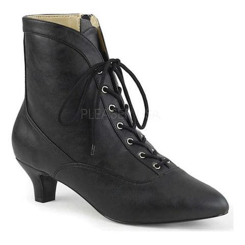 Pleaser Pink Label Women's Fab-1005 Ankle Boot Black Faux Leather