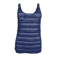 Lauren Ralph Lauren Women's Linen Blend Sweater Tank Top - Navy Multi