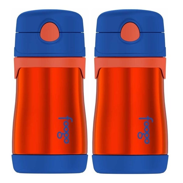 Thermos Foogo Vacuum Insulated 10 oz Straw Bottle (Orange/Blue, 2-Pack)