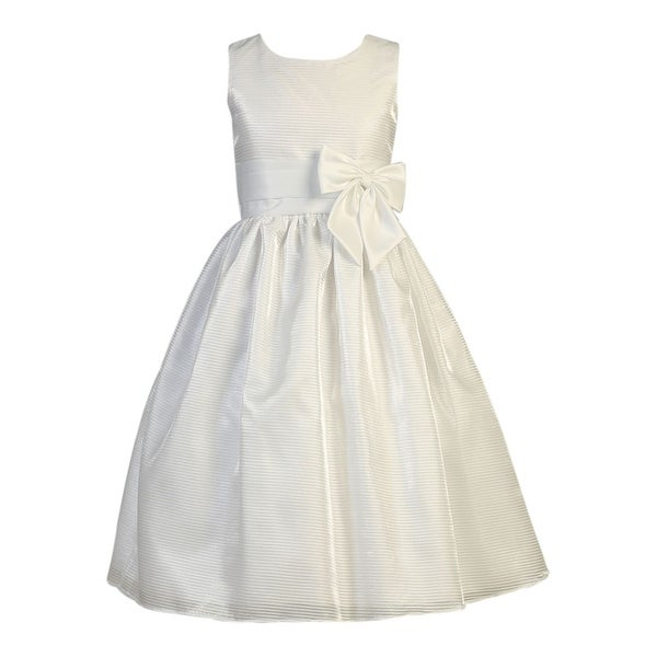 d25c9170165a6 Shop Little Girls White Striped Organza Satin Bow First Communion Dress -  Free Shipping Today - Overstock.com - 18164214