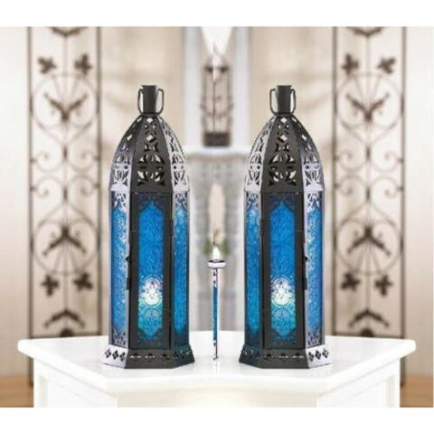 Set of 2 Tall Vibrant Blue Candle Lanterns