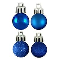 "18ct Lavish Blue Shatterproof 4-Finish Christmas Ball Ornaments 1.25"" (30mm)"