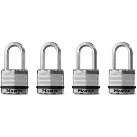 "Magnum M1XQLFHC Long Shackle Laminated Padlock, 1-3/4"", 4/PK"