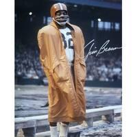 Jim Brown Autographed Cleveland Browns 16x20 Photo Coat JSA