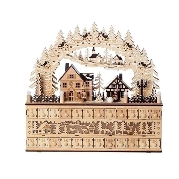 """17"""" Beige and Brown 2 Piece LED Village Arch Countdown Advent Calendars"""