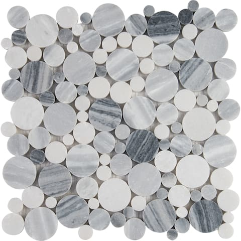 "MSI SMOT-PEB-AL Alaska Gray - 12"" x 12"" Pebble Mosaic Sheet - P"