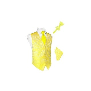 Lemon Tapestry Satin Vest with Long Tie Bowtie and Pocket Square