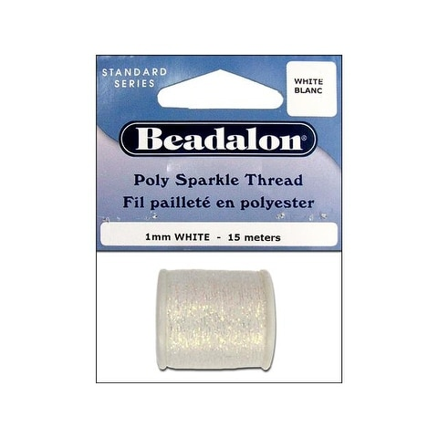 Beadalon Poly Sparkle Thread 1mm 15m Wht