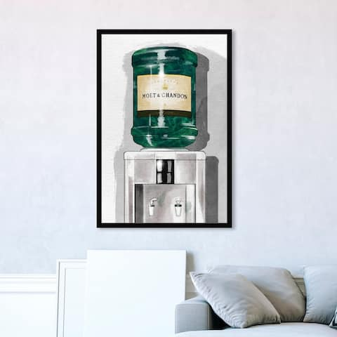 Oliver Gal 'Champagne For Days' Drinks and Spirits Framed Wall Art Prints Champagne - Green, Gray