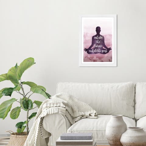 Wynwood Studio 'Inhale the Future' Typography and Quotes Purple Wall Art Framed Print