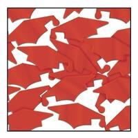 Club Pack of 12 Red Fanci-Fetti Graduation Mortarboard Celebration Confetti Bags 1 oz.