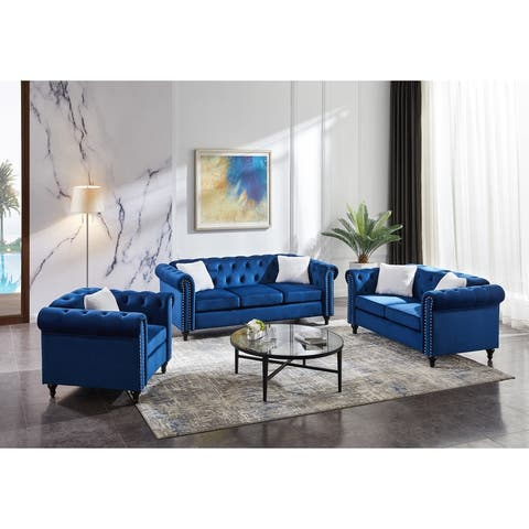 3-seater sofa, loveseat and sofa chair, with button and copper nail