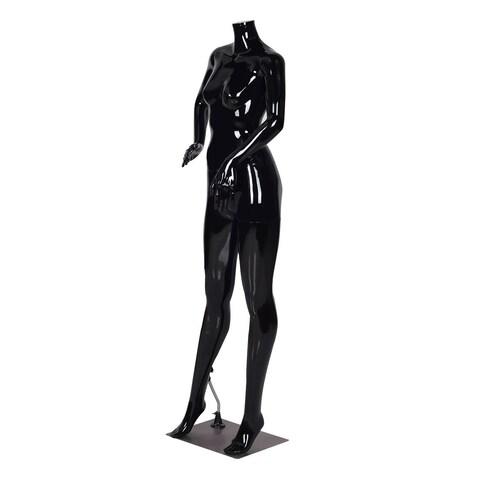 Costway Headless Female Mannequin Full Body Plastic Dress Form Display High Gloss Black