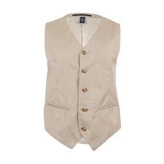 Perry Ellis Men's Texture Vest (Natural Linen, Small) - Natural Linen - S