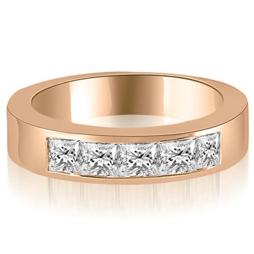 1.35 cttw. 14K Rose Gold Princess Diamond 5-Stone Channel Wedding Band