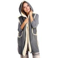 Hue Sleepwear Women's Sleeveless Hooded Fleece Lined Robe - Castlerock