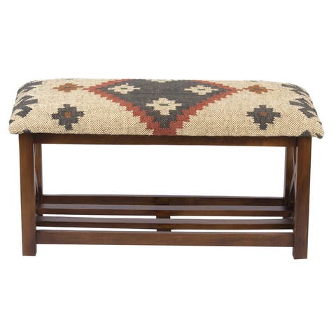 "Handmade Kilim Upholstered Storage Bench (India) - 32"" H x 14"" W x 16"" H"