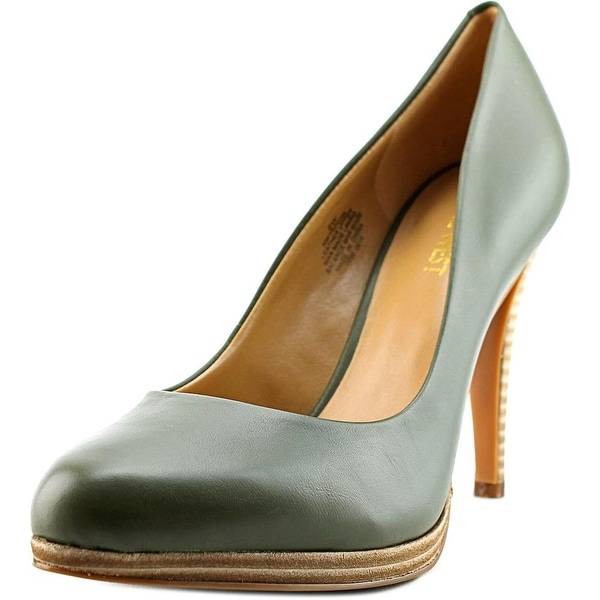 Nine West Rocha Women Round Toe Leather Green Heels
