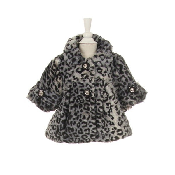 Little Girls Black White Leopard Pattern Faux Fur Winter Swing Coat 2-6