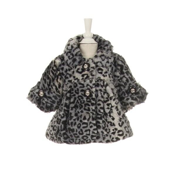 Shop Little Girls Black White Leopard Pattern Faux Fur Winter Swing