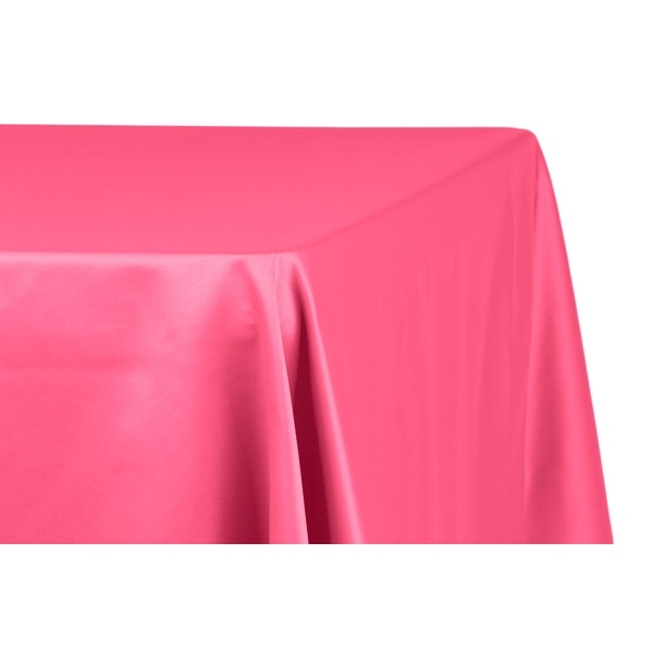 "Lamour Satin 90""x132"" Rectangular Oblong Tablecloth - Fuchsia"