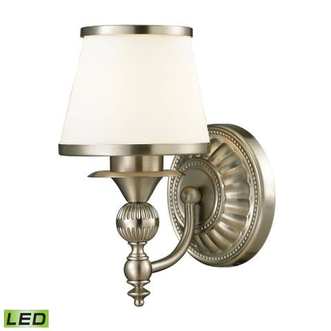 Smithfield 1-Light Vanity Lamp in Brushed Nickel with Opal White Blown Glass - Includes LED Bulb