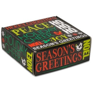 "Pack Of 6, 8 X 8 X 3"" Holiday Greetings Chalkboard Boxes Auto Lock Boxes 1-Piece W/Fold-Over Lid"