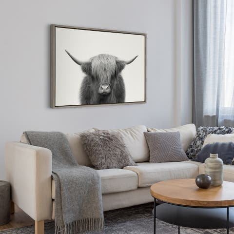 Kate and Laurel Highland Cow Frame Canvas by The Creative Bunch Studio