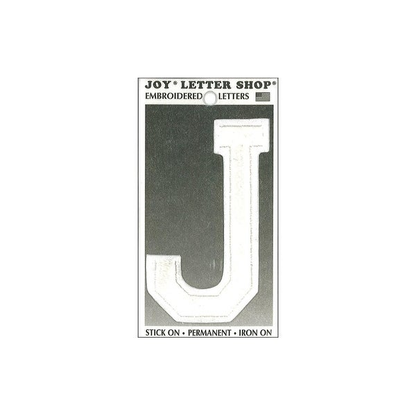 "Joy Applique Letter Iron On Varsity 3"" White J"