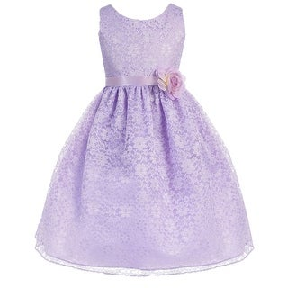 Floral Pattern Lace Flower Girl Dress Lilac CA 749