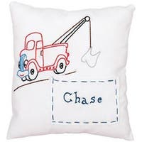 """Tow Truck - Stamped Tooth Fairy Pillow Cover 8""""X8"""""""