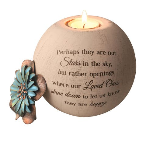 Stars in the Sky Memorial Tea Light Candle Holder - Round Globe - Brown