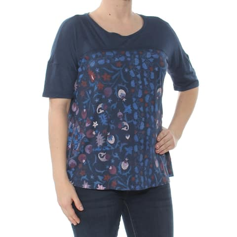 LUCKY BRAND Womens Navy Floral Print Short Sleeve Crew Neck T-Shirt Top Size: S