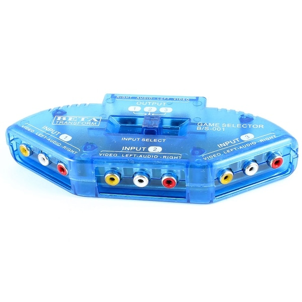 Unique Bargains AV Audio Video VCD Player Switch Selector Switcher Splitter 3 in 1 out Blue