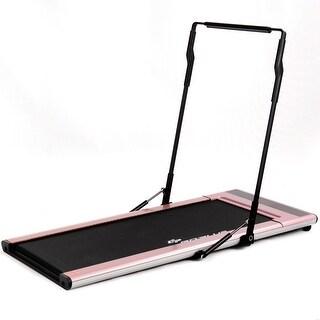 Goplus 1.5HP Folding Treadmill Smart Walk Slim Running Intelligent Speed Control Pink