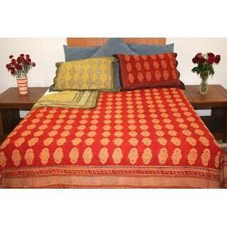 Handmade Cotton Reversible Duvet Cover Kensington Rust Brown Full Queen King Pillow Sham