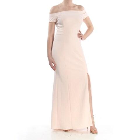 RALPH LAUREN Womens Pink Split Side Seam Sleeveless Off Shoulder Full-Length Shift Formal Dress Size: 8