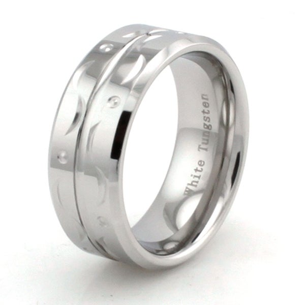 Hand Carved White Tungsten Ring w/ Grooved Center and Beveled Edge