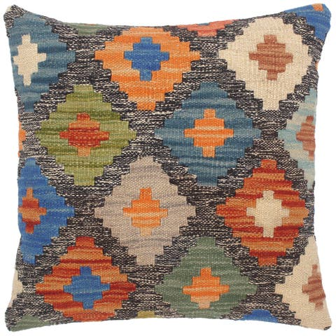 Vintage Chere Hand-Woven Turkish Kilim Throw Pillow 18 in. x 18