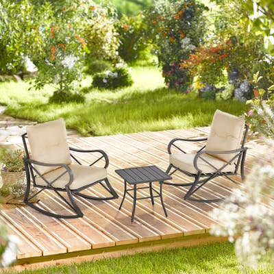 Outsunny 3-Piece Outdoor Rocking Coffee Table Chair Set with Curved Base, Soft Cushions, & Aluminum Frame