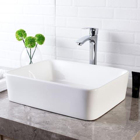 Kichae 19''x15'' Premium Quality Ceramic Bathroom Vessel Sink With Faucet Combo Hoses
