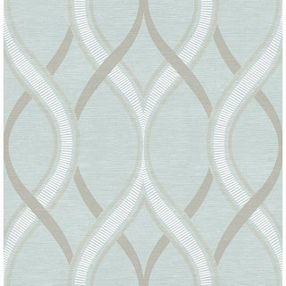Brewster 2625-21851 Frequency Turquoise Ogee Wallpaper