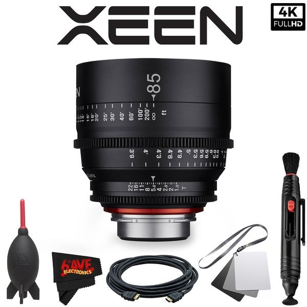 Rokinon Xeen 85mm T1.5 Lens for PL Mount with Professional Accessory Kit - black