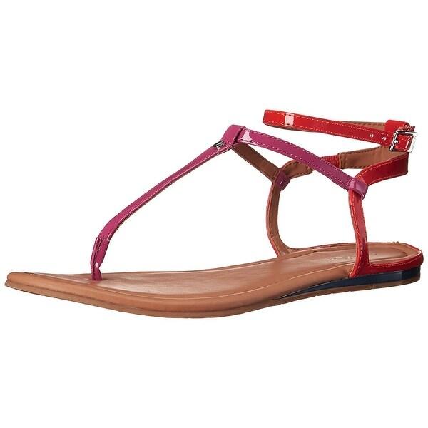 Calvin Klein Womens Haubrey Split Toe Casual T-Strap Sandals