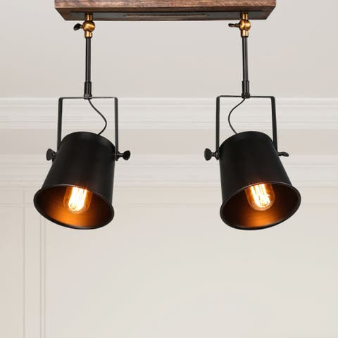 "The Gray Barn Hidden Pond Wood Ceiling Track Lighting Spotlights 2-lights Semi-Flush Mount - L 15"" x W 4.75""x H 13.5"""