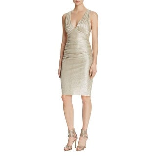 Laundry by Shelli Segal Womens Party Dress Metallic Twist Back