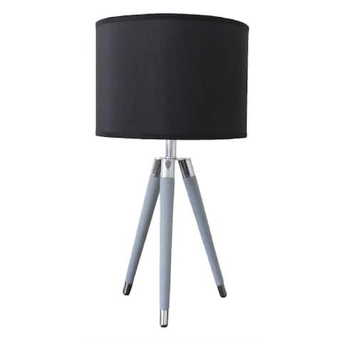 "26.75"" Modern Gray Faux Leather Tripod Table Lamp"