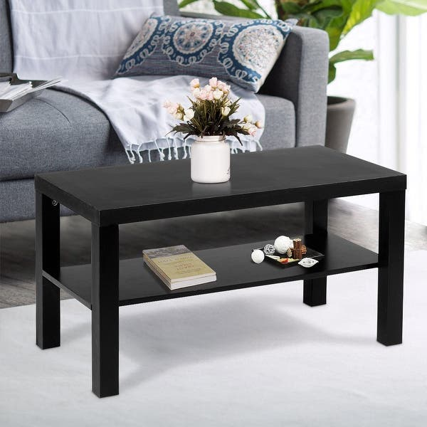 Shop Costway Coffee End Table Rectangle Modern Living Room ...