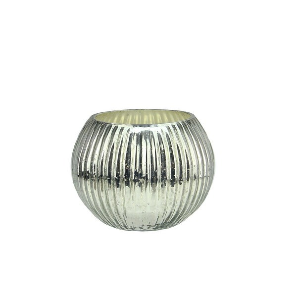 Set of 4 Silver Ribbed Mercury Glass Decorative Votive Candle Holders 3.25""