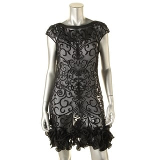 Jessica Simpson Womens Mesh Embroidered Cocktail Dress - 4